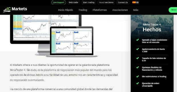 metatrader 4 con el broker ic markets